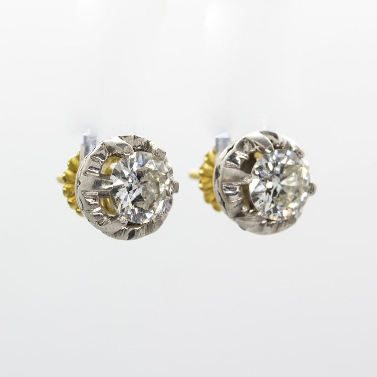 Original Antique Art Deco 18 Karat and Platinum Old Mine Cut Diamonds Earrings For Sale 2