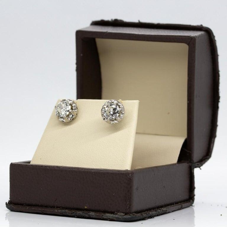 Original Antique Art Deco 18 Karat and Platinum Old Mine Cut Diamonds Earrings For Sale 4
