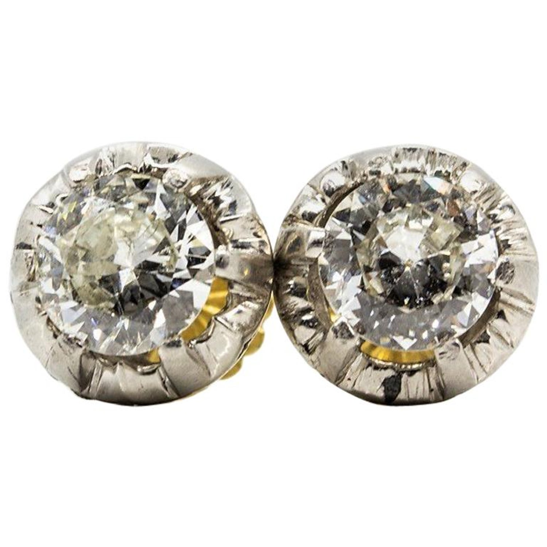 006111db4c94a Original Antique Art Deco 18 Karat and Platinum Old Mine Cut Diamonds  Earrings