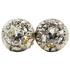 Original Antique Art Deco 18 Karat and Platinum Old Mine Cut Diamonds Earrings