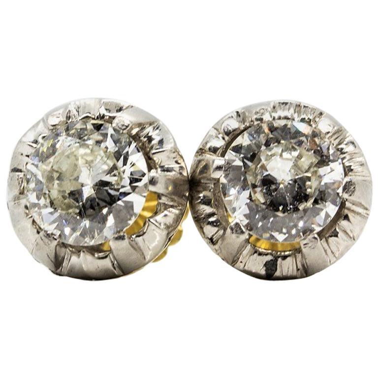 Original Antique Art Deco 18 Karat and Platinum Old Mine Cut Diamonds Earrings For Sale