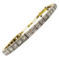 Original Antique Art Deco 18 Karat Gold and Platinum Bracelet