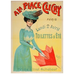 Original Antique Art Nouveau Poster A La Place Clichy Paris Fashion Summer Sale