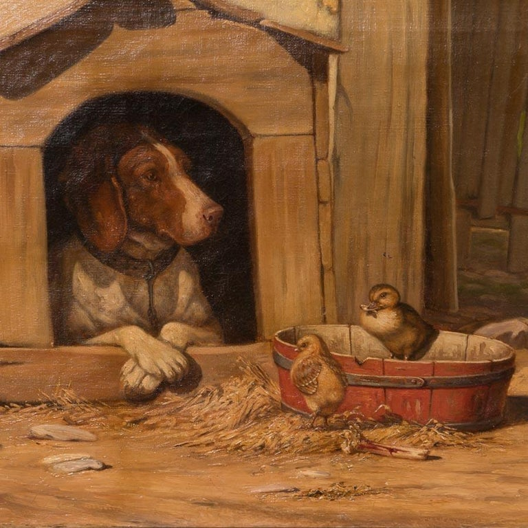 Danish Original Antique Barnyard Oil Painting with Guard Dog by Herman Funch For Sale