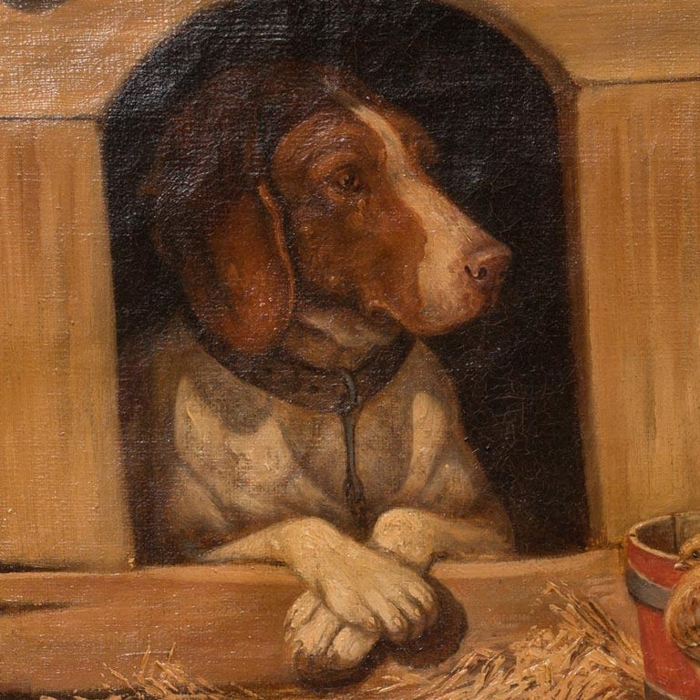 Painted Original Antique Barnyard Oil Painting with Guard Dog by Herman Funch For Sale