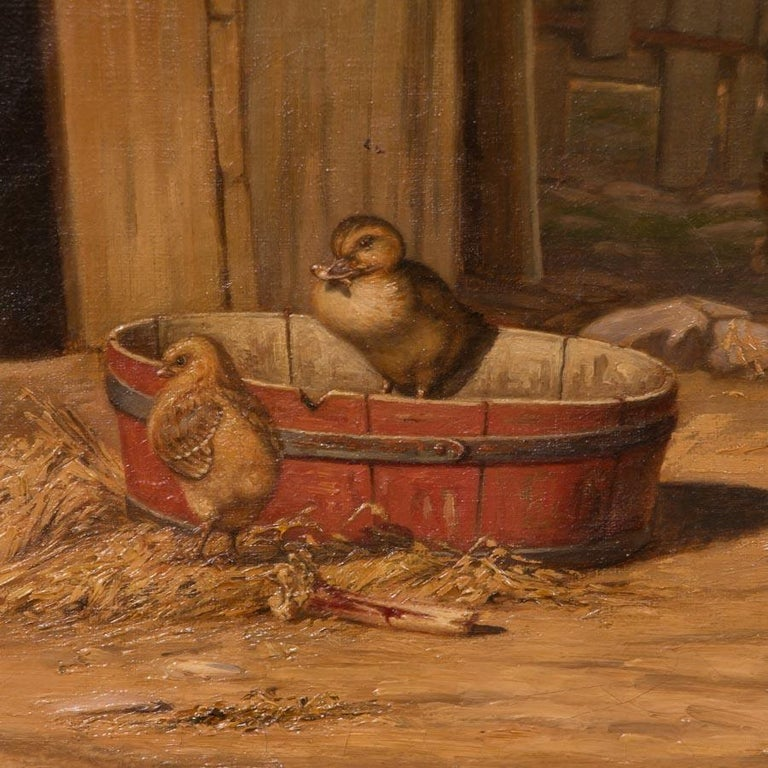 Original Antique Barnyard Oil Painting with Guard Dog by Herman Funch In Good Condition For Sale In Denver, CO