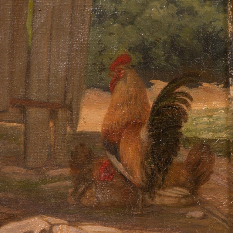 Canvas Original Antique Barnyard Oil Painting with Guard Dog by Herman Funch For Sale