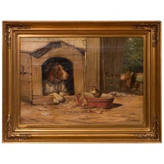 Original Antique Barnyard Oil Painting with Guard Dog by Herman Funch
