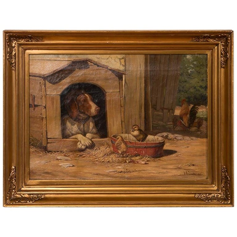Original Antique Barnyard Oil Painting with Guard Dog by Herman Funch For Sale