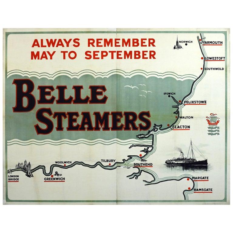 London East Map.Original Antique Belle Steamers Poster Paddle Steamer Ship Map London East Coast