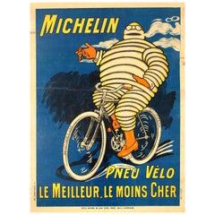 Original Antique Bibendum Michelin Man Poster - Michelin Pneu Velo Bicycle Tyres