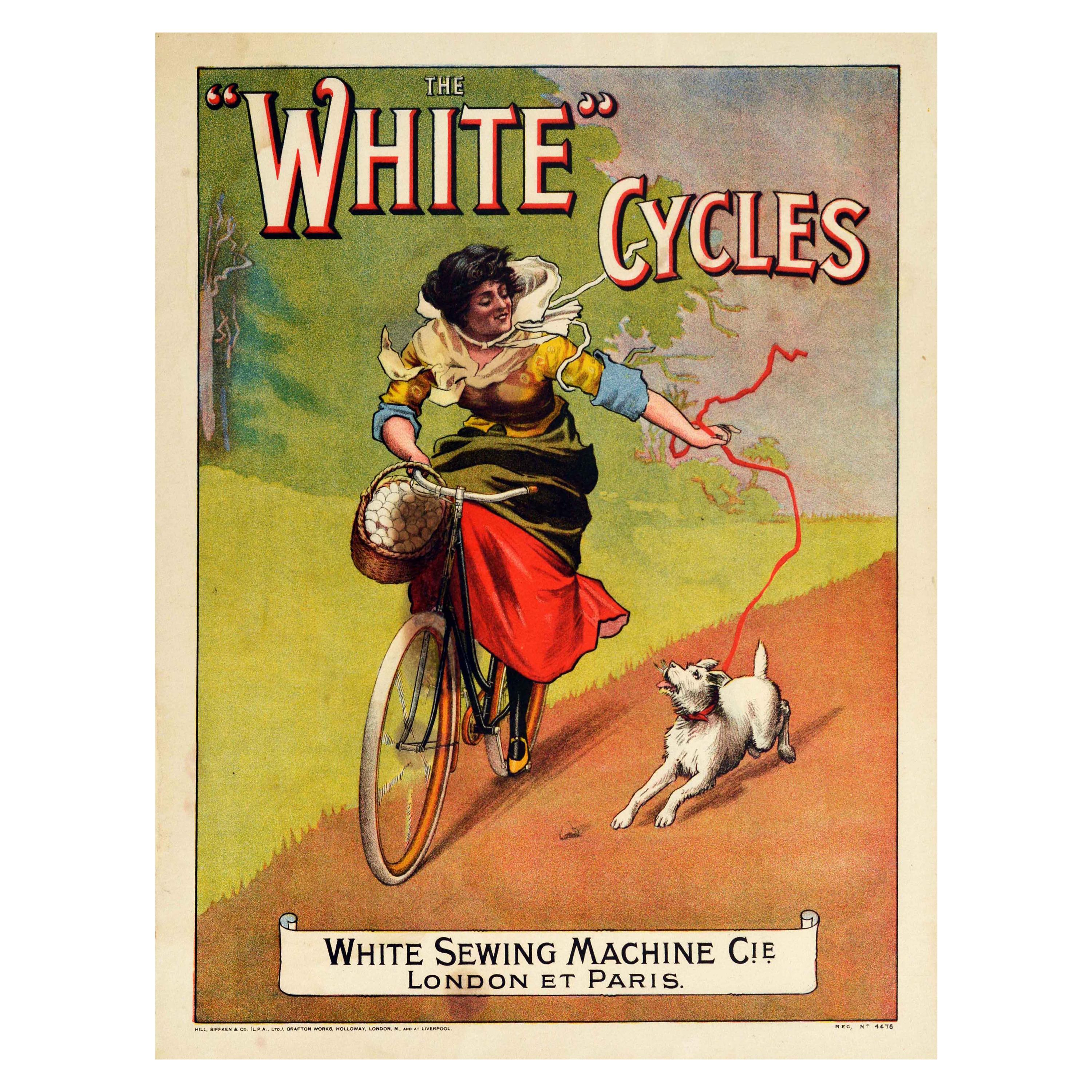 Original Antique Bicycle Poster White Cycles White Sewing Machine Cyclist & Dog