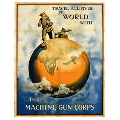 Original Antique British Army Machine Gun Corps Recruitment Poster Travel World