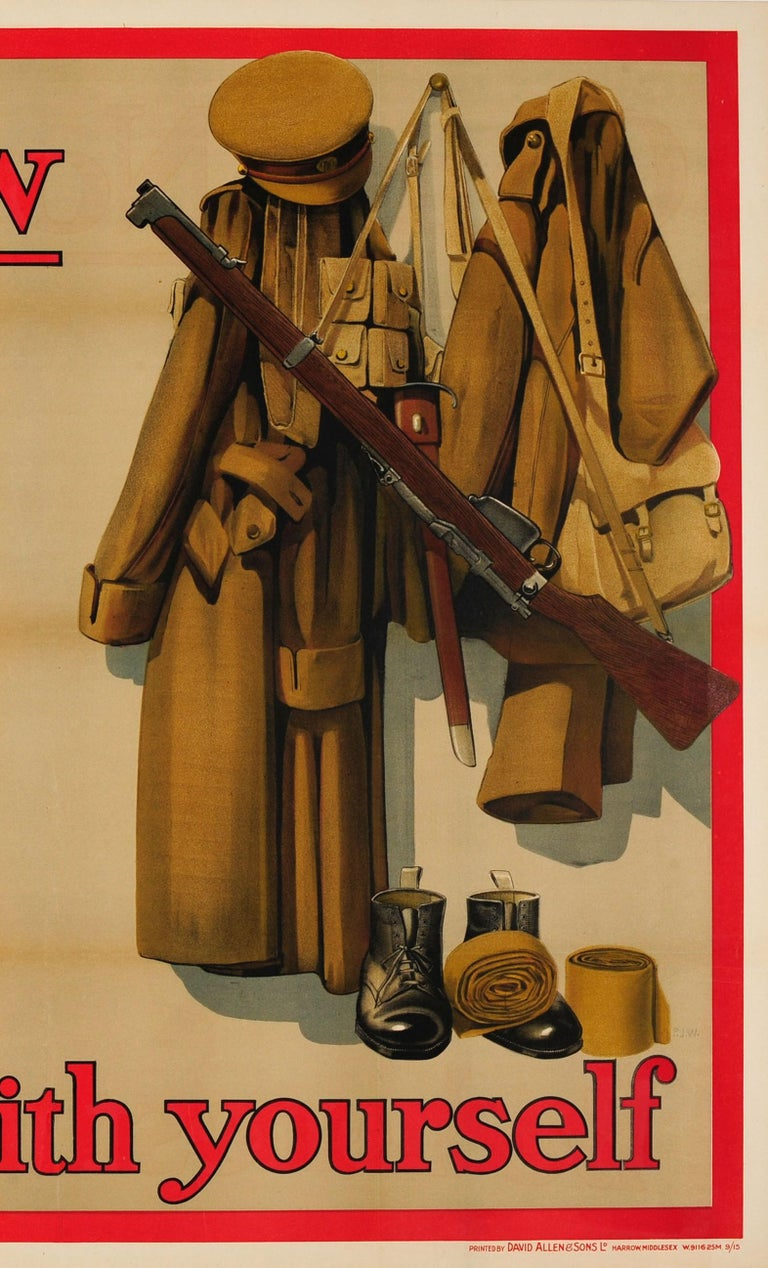 Early 20th Century Original Antique British WWI Recruitment Poster Come Now Be Honest With Yourself For Sale