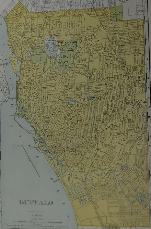 American Original Antique City Plan of Buffalo, New York, USA, circa 1900