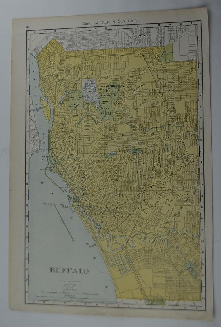 Other Original Antique City Plan of Buffalo, New York, USA, circa 1900