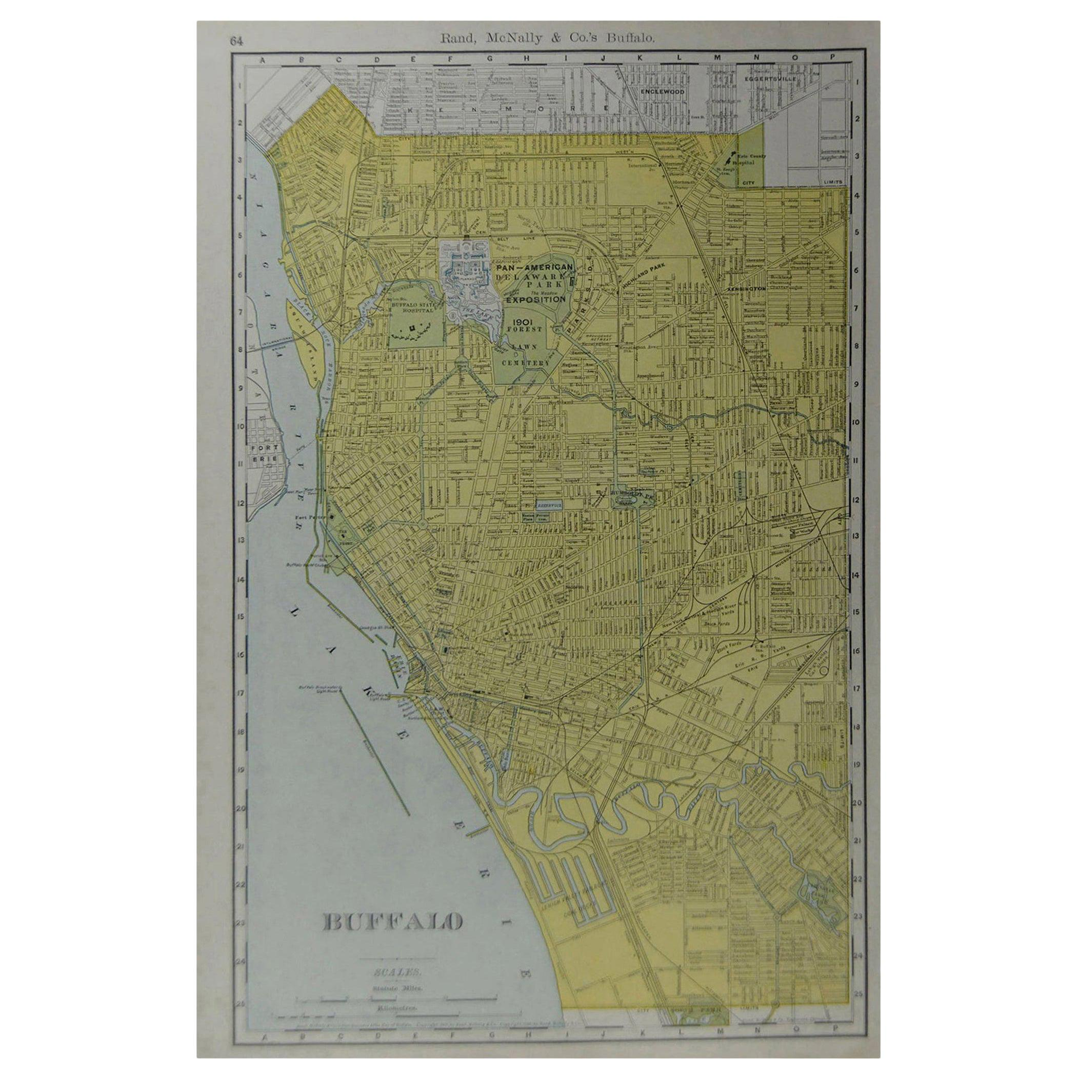 Original Antique City Plan of Buffalo, New York, USA, circa 1900