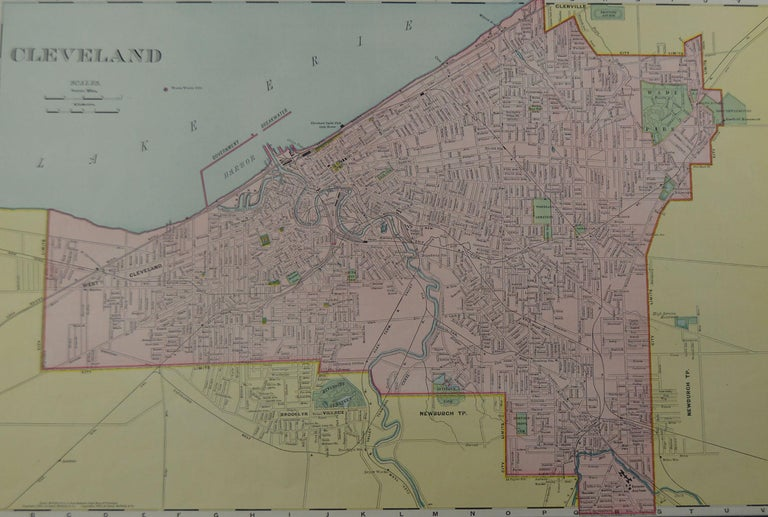 Fabulous colorful map of Cleveland  Original color  By Rand, McNally & Co.  Published, circa 1900  Unframed  Free shipping.