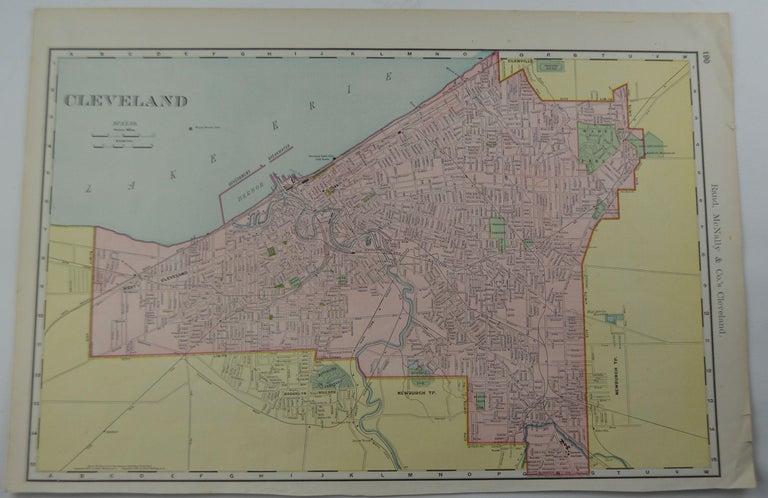 Other Original Antique City Plan of Cleveland, Ohio, USA, circa 1900