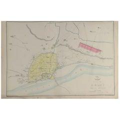 Original Antique City Plan of Delhi, India, 1861