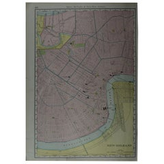 Original Antique City Plan of New Orleans, USA, circa 1900