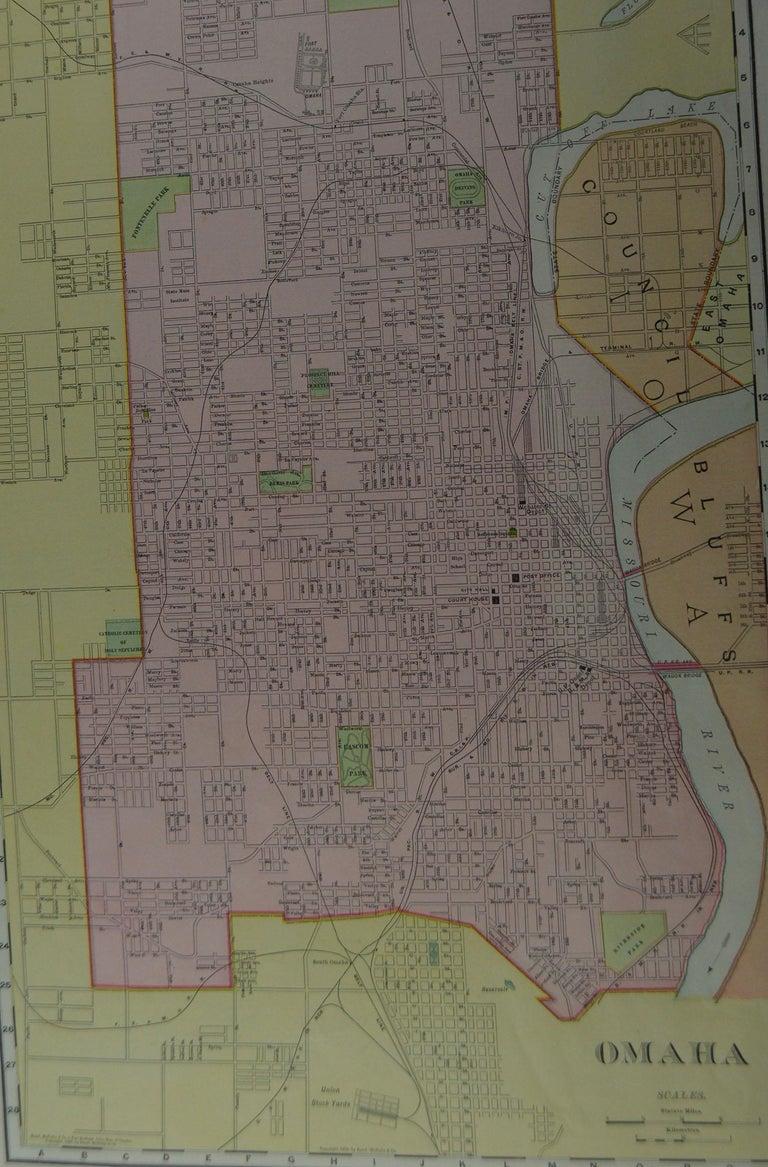 American Original Antique City Plan of Omaha, Nebraska, USA, circa 1900