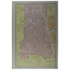 Original Antique City Plan of Omaha, Nebraska, USA, circa 1900