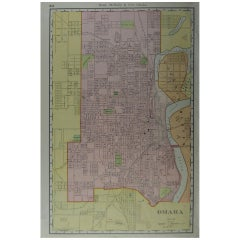 Original Antique City Plan of Omaha, Nebraska, USA, circa 1900