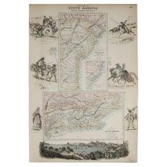 Original Antique Decorative Map of Brazil, Fullarton, C.1870
