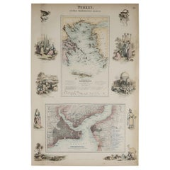 Original Antique Decorative Map of Greece & Istanbul, Fullarton, C.1870