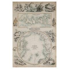 Original Antique Decorative Map of The Arctic, Fullarton, C.1870