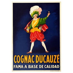 Original Antique Drink Poster Cognac Ducauze Fama A Base De Calidad Fame Quality