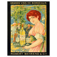 Original Antique Drink Poster Grand Vins De Bordeaux French Wine Sailing Boats