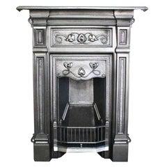Original Antique Edwardian Art Nouveau Cast Iron Combination Grate