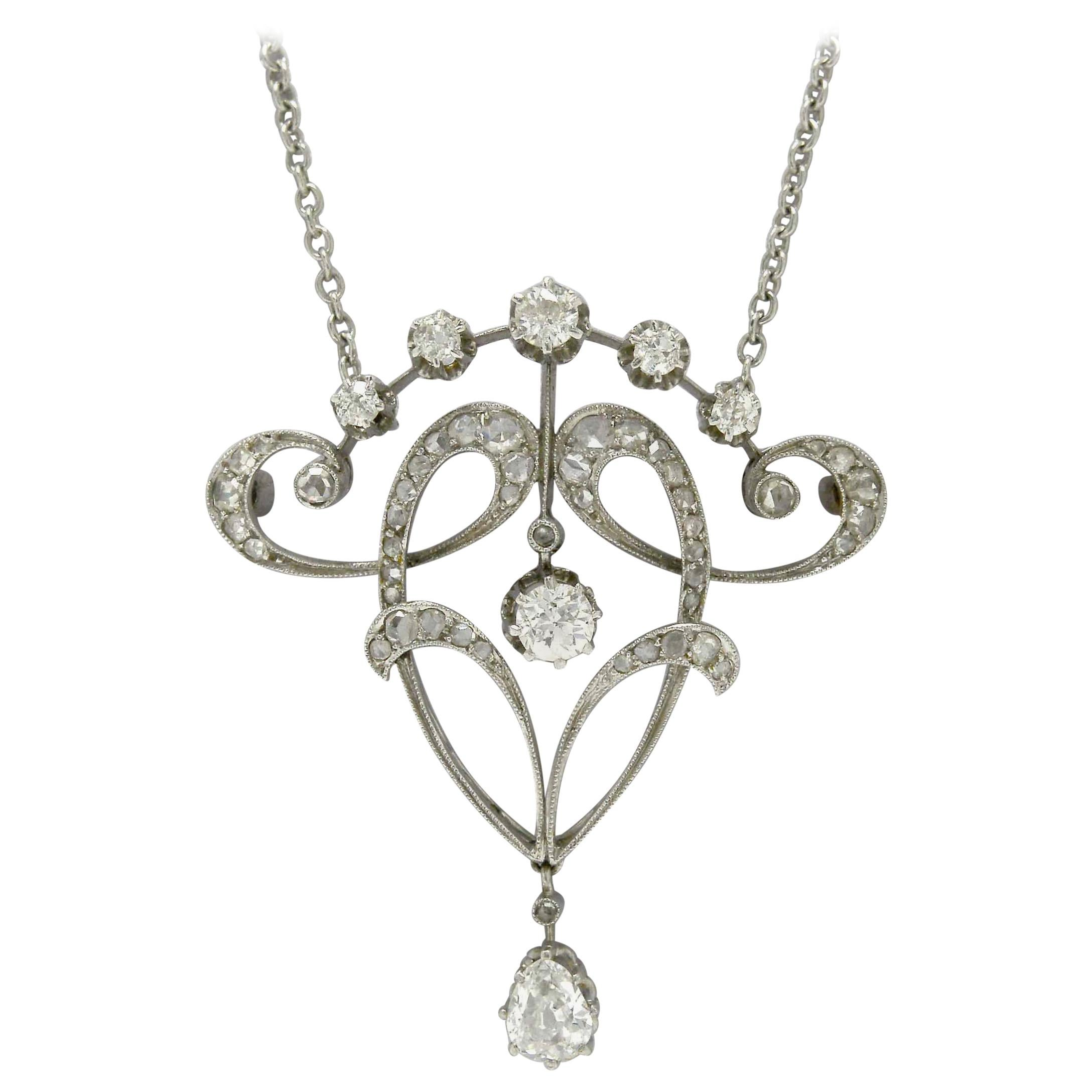 Original Antique Edwardian Diamond Necklace Pendant Lavalier Platinum circa 1900