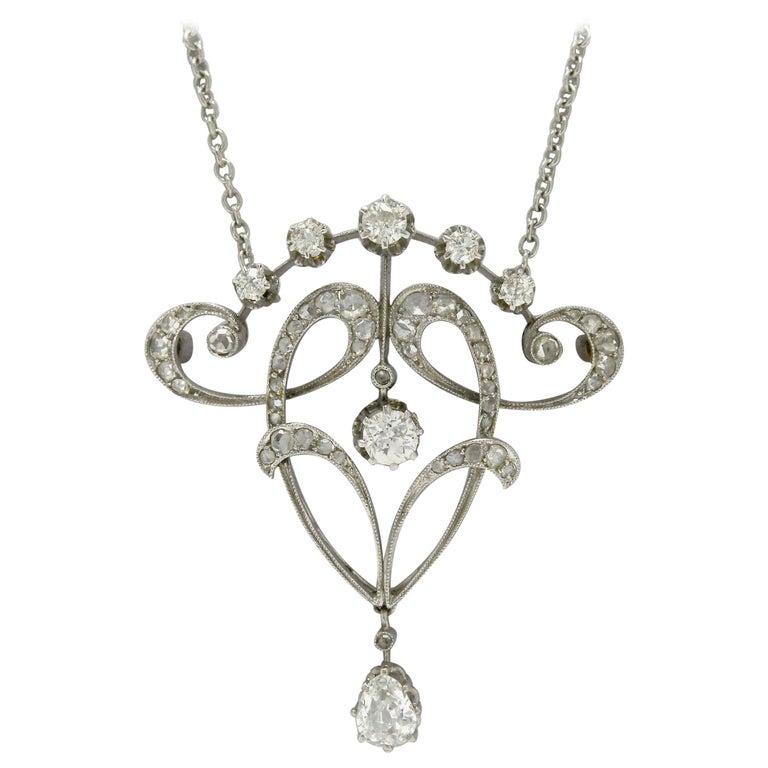 Original Antique Edwardian Diamond Necklace Pendant Lavalier Platinum circa 1900 For Sale