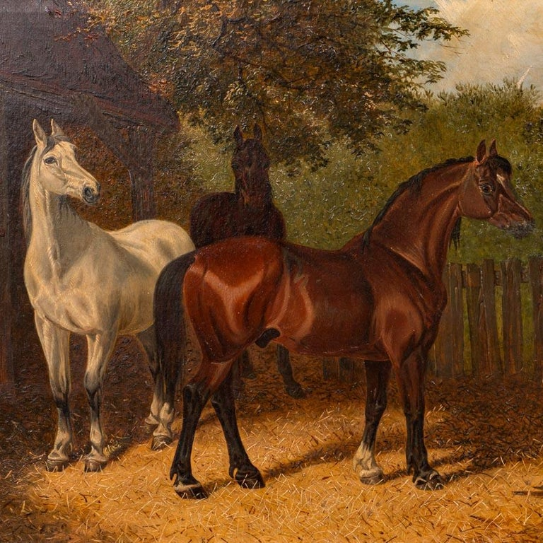 Painted Original Antique English Oil Painting of Horses For Sale
