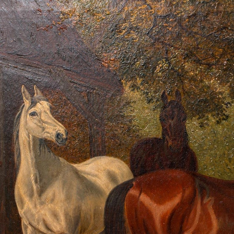 Original Antique English Oil Painting of Horses In Good Condition For Sale In Denver, CO