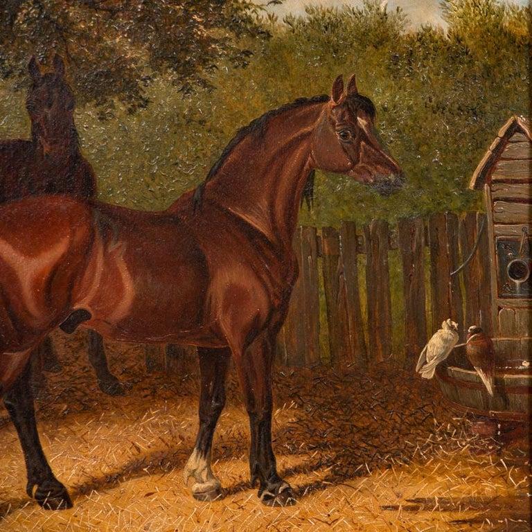 20th Century Original Antique English Oil Painting of Horses For Sale