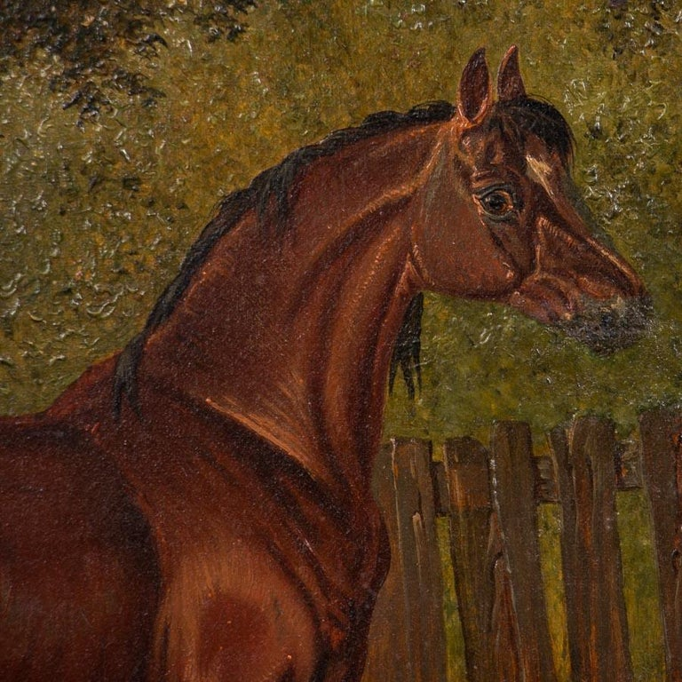 Canvas Original Antique English Oil Painting of Horses For Sale