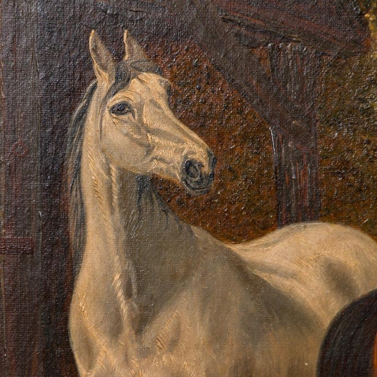 Original Antique English Oil Painting of Horses For Sale 1
