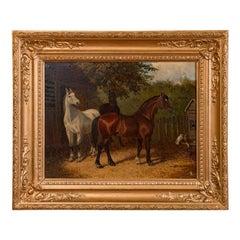 Original Antique English Oil Painting of Horses