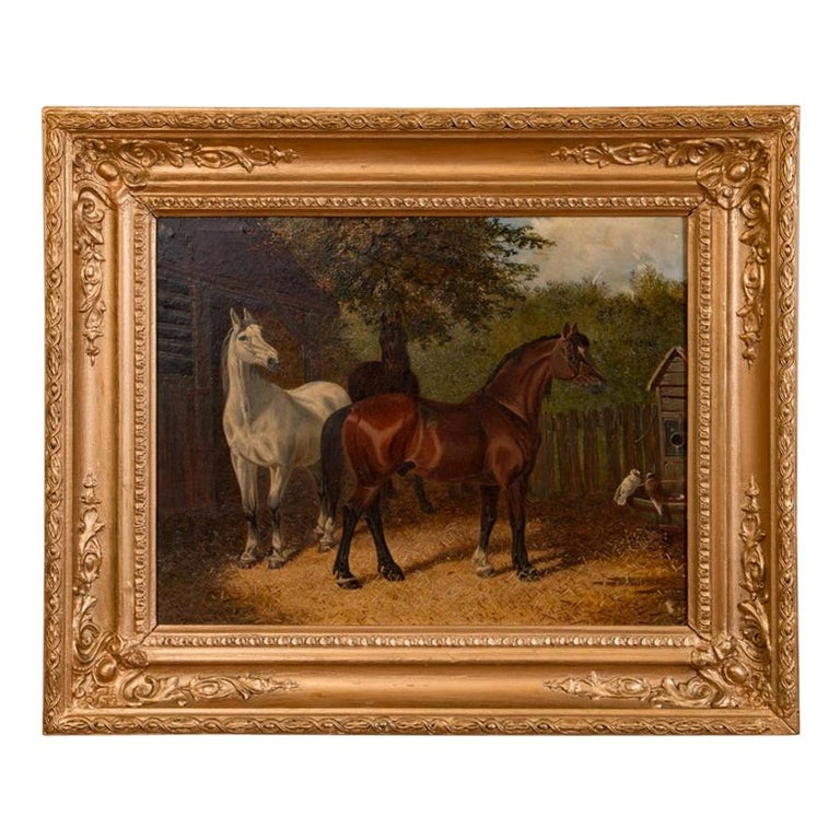 Original Antique English Oil Painting of Horses For Sale