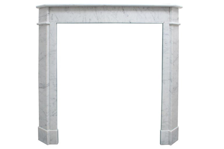 French Provincial Original Antique French Carrara Marble Fireplace Surround For Sale