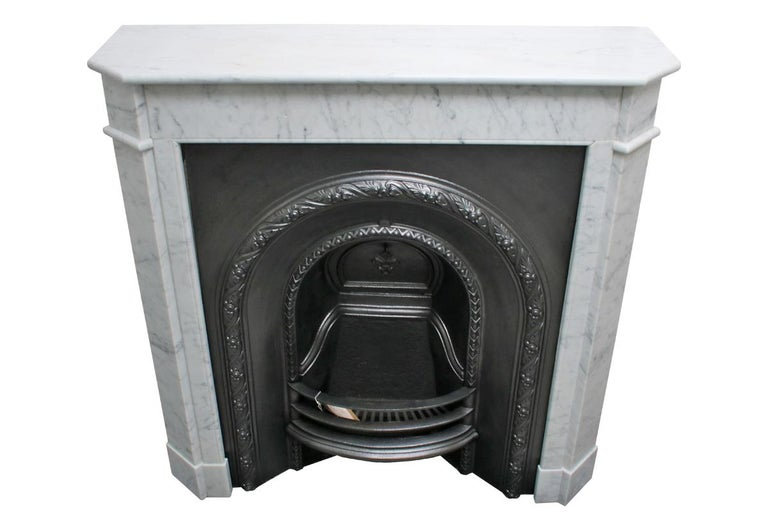 Original Antique French Carrara Marble Fireplace Surround In Good Condition For Sale In Manchester, GB