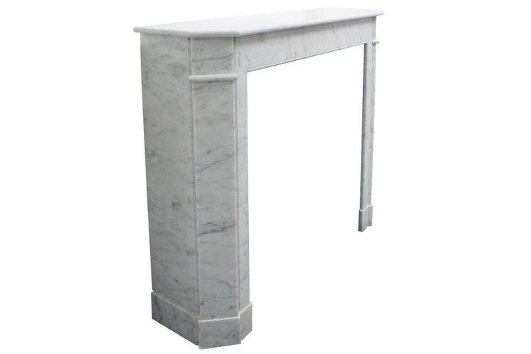 20th Century Original Antique French Carrara Marble Fireplace Surround For Sale