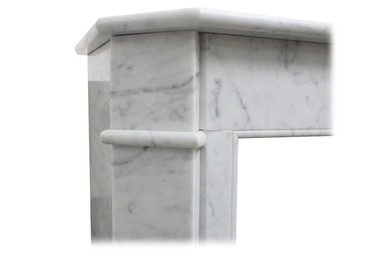 Original Antique French Carrara Marble Fireplace Surround For Sale 1