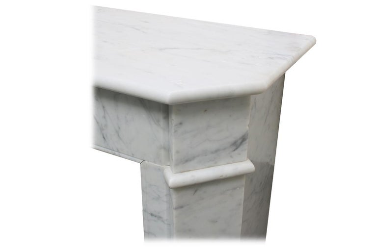 Original Antique French Carrara Marble Fireplace Surround For Sale 2