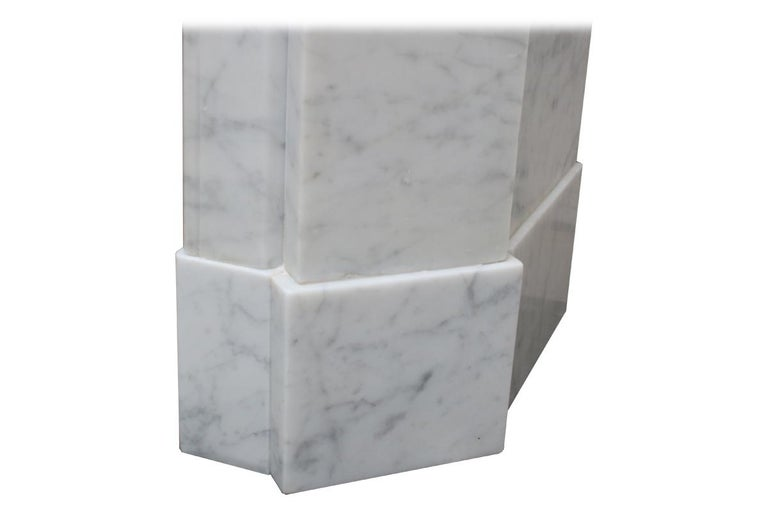 Original Antique French Carrara Marble Fireplace Surround For Sale 3
