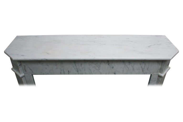 Original Antique French Carrara Marble Fireplace Surround For Sale 4